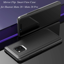 Smart Flip Stand Mirror Case For Huawei Mate 20 Pro Case Clear View PU Leather Cover For Huawei Mate 20 Case Cover Huawei Mate20 mooncase huawei ascend mate 7 чехол для view slim leather flip pouch bracket back cover hot pink