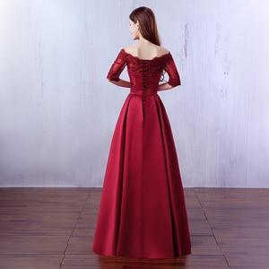 Image 2 - Robe De Soiree 2019 יין אדום תחרה רקמת יוקרה סאטן חצי שרוולים ארוך שמלת ערב משתה אלגנטי שמלה לנשף