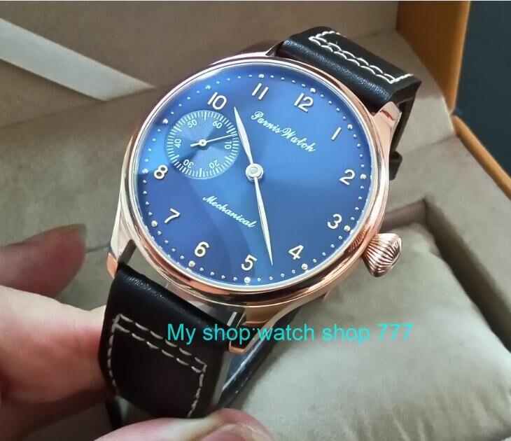 все цены на 44mm PARNIS blue dial 17 jewels Asian 6497/3600 Mechanical Hand Wind movement men's watch Rose gold case Mechanical watch 326A онлайн