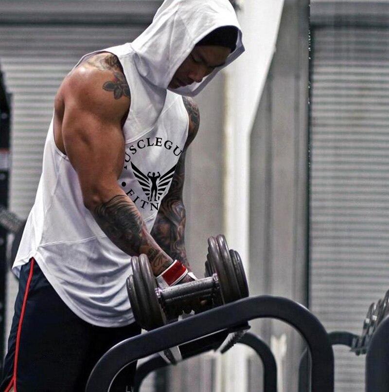 Brand Bodybuilding Stringer   Tank     Tops   Hoodies Sportwear Tanktops Fitness Men gyms Clothing sleeveless shirts with hoodie