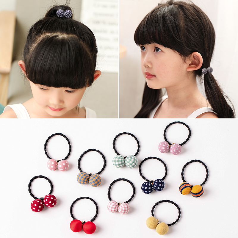 Fashion Two Balls Lattice Speckle Elastic Hair Bands Cute Girls Rubber Bands Scrunchies Ponytail Holder Kids Hair Accessories