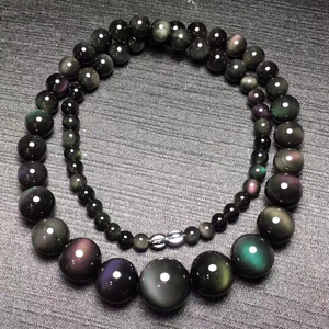 Image 4 - Fine Rainbow Eye Black Natural Obsidian Stone Necklace Round Bead Tower Chain Necklace for Women Men Fashion Jewelry JoursNeige