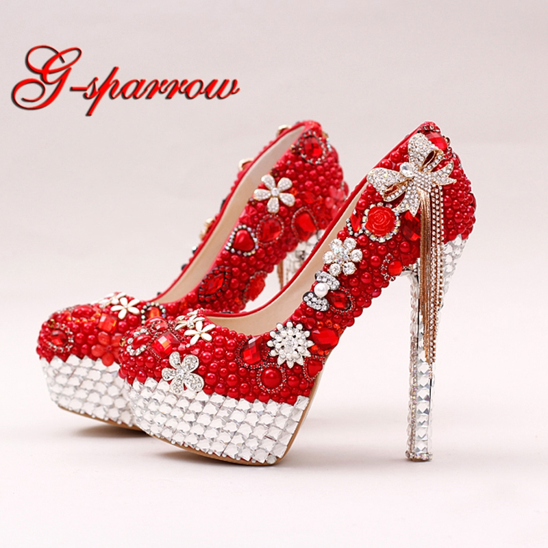 Red Color Gorgeous Pearl Bridal Shoes Rhinestone Bow Tassel Wedding Dress Shoes Women Party Prom High Heels Lady Valentine Pumps