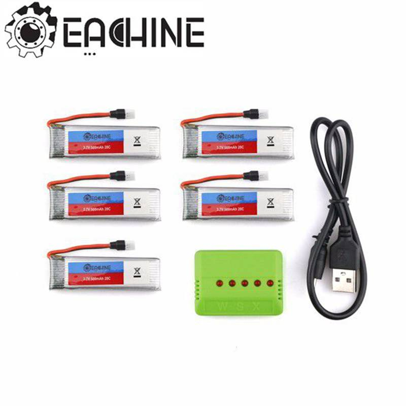 Eachine E50 JJRC H37 RC Quadcopter Spare Parts 5Pcs 3.7V 500MAH 20C Battery And 1 To 5 Charger new arrival jjrc h31 rc quadcopter spare parts 5pcs 3 7v 500mah 30c battery and charger set x5a a13