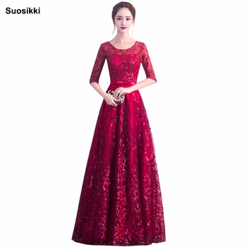 Suosikki Elegant O-Neck A-Line embroidery Lace Evening Dress Cheap Prom Dresses Robe De Soiree Party Dress With Half Sleeves