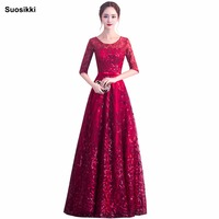 Suosikki Elegant O Neck A Line embroidery Lace Evening Dress Cheap Prom Dresses Robe De Soiree Party Dress With Half Sleeves