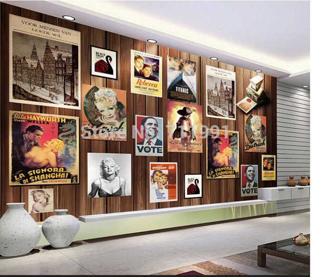 custom wood vintage movie poster wallcoverings for living room sofa bedroom backdrop wall papel. Black Bedroom Furniture Sets. Home Design Ideas