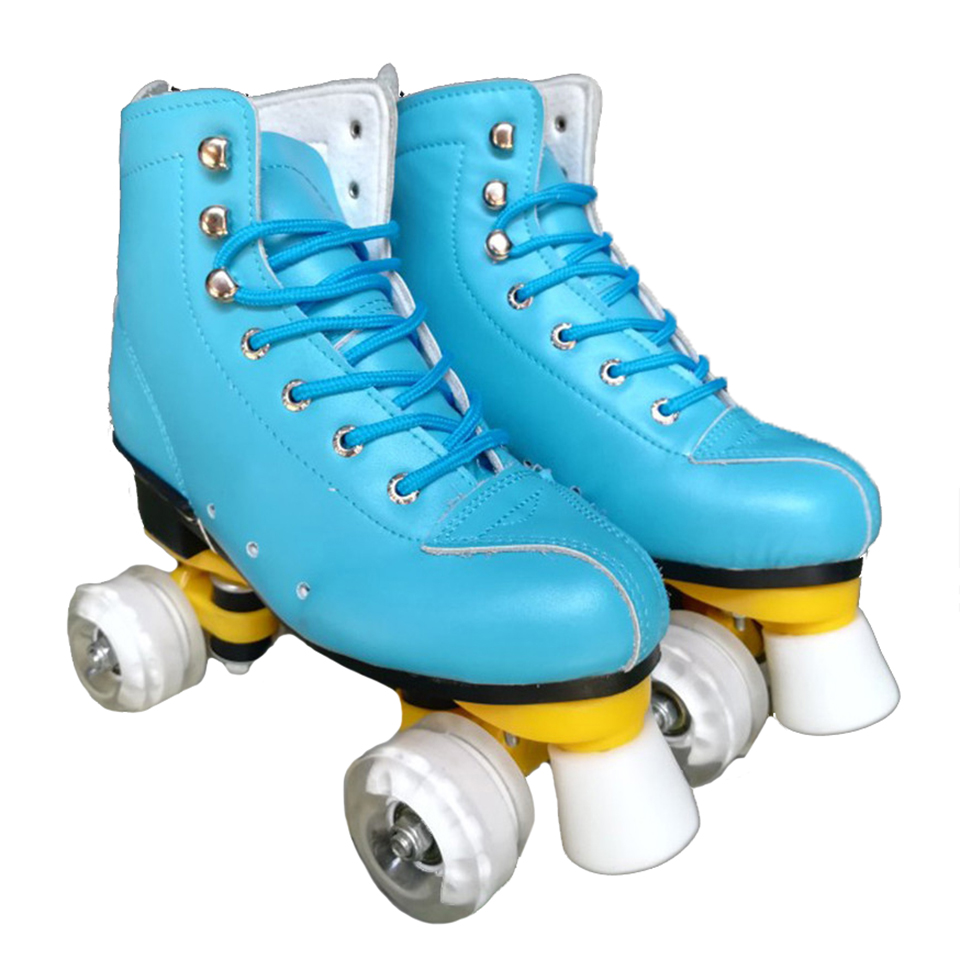Adult Children Two Line Roller Skates Double Row 4 Wheel Skating Shoes Good As SEBA Cowhide