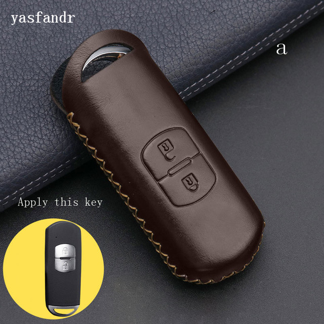 2 düğmeler r anahtar kapağı kılıfı çanta cüzdan anahtarlık araba aksesuar için Mazda 2 / 3/ 5/ 6 CX 3 CX 4 CX 5 CX 7 CX 9 Atenza Axela MX5