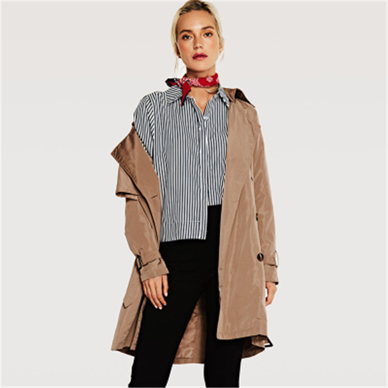 autumn women's fashion double-breasted long   trench   coat 2019 autumn and winter slim lapel long-sleeved women's windbreaker B506