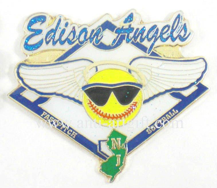 Пользовательская эмблема, железный клуб бейсбола с отворотами, жесткая эмаль с синим блеском, без MOQ, крутые очки для мальчиков, быстрая