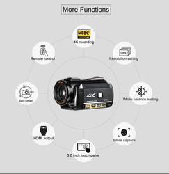 ordro UHD 4k WIFI digital video camera with 3.0 Touch display wifi night vision digital video camcorder microphone lens