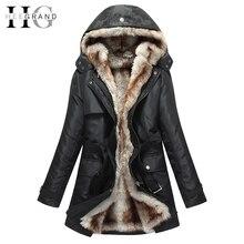 Парка хи grand негабаритных капот основные меха искусственного женщина зимние куртки