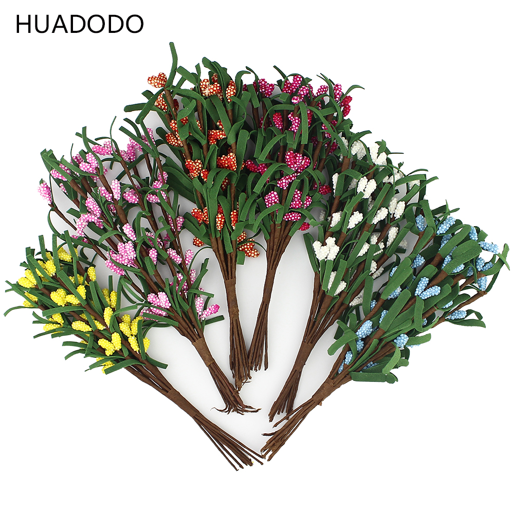 Huadodo 16cm artificial branches stamen flowers for home for Artificial leaves for decoration