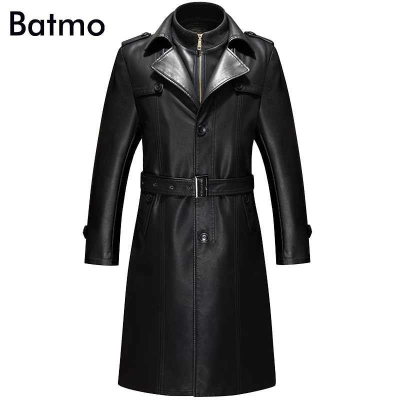Batmo 2019 new arrival winter high quality real leather casual Cotton Liner coat men,plus-size S-4XL