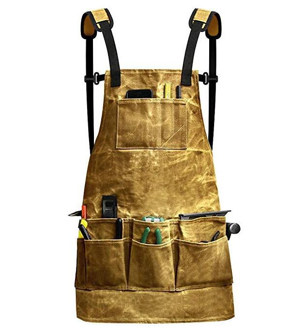 Dry oil wet wax canvas waterproof apron For Chef Cafe Shop BBQ Aprons Barber Bartender BBQ Chef Practical Workwear Uniform