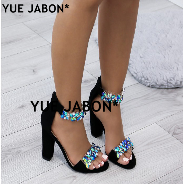 c83c0a627 Luxury Crystal Thick Heel Sandals Brand Design Sexy Bling Rhinestone High  Heel Women Sandals Elegant Party Shoes gladiator -in High Heels from Shoes  on ...