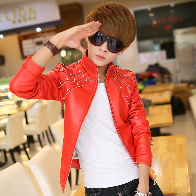 Fashion style red black white 2017 spring PU clothing male teenage motorcycle slim rivet leather jacket mens coat outerwear XL