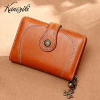 Vintage Women Leather Purse Female Wallet with Decoration Beading Festival Birthday Gift Present