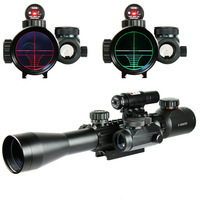 3 9X40 EG Illuminated Hunting Tactical Riflescope with Red Laser Sight & Holographic Dot Combo Airsoft Gun Rifle Weapon Scope