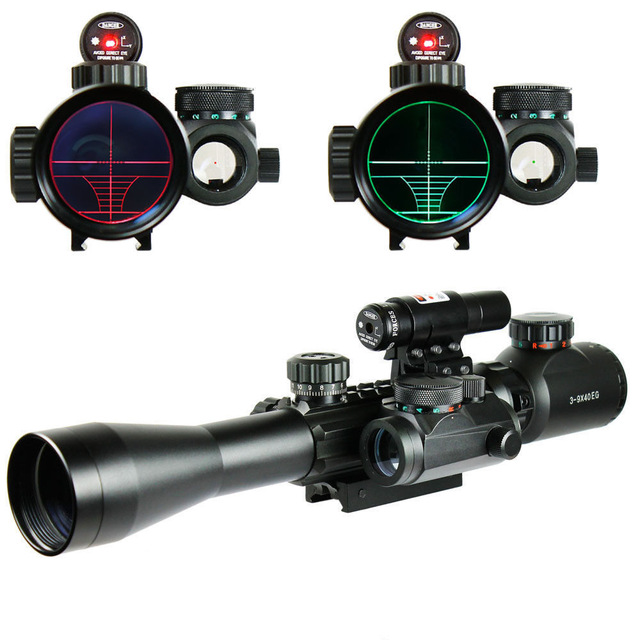 C 3-9X40 EG Illuminated Hunting Tactical Riflescope with Red Laser Sight & Holographic Dot Combo Airsoft Gun Rifle Weapon Scope
