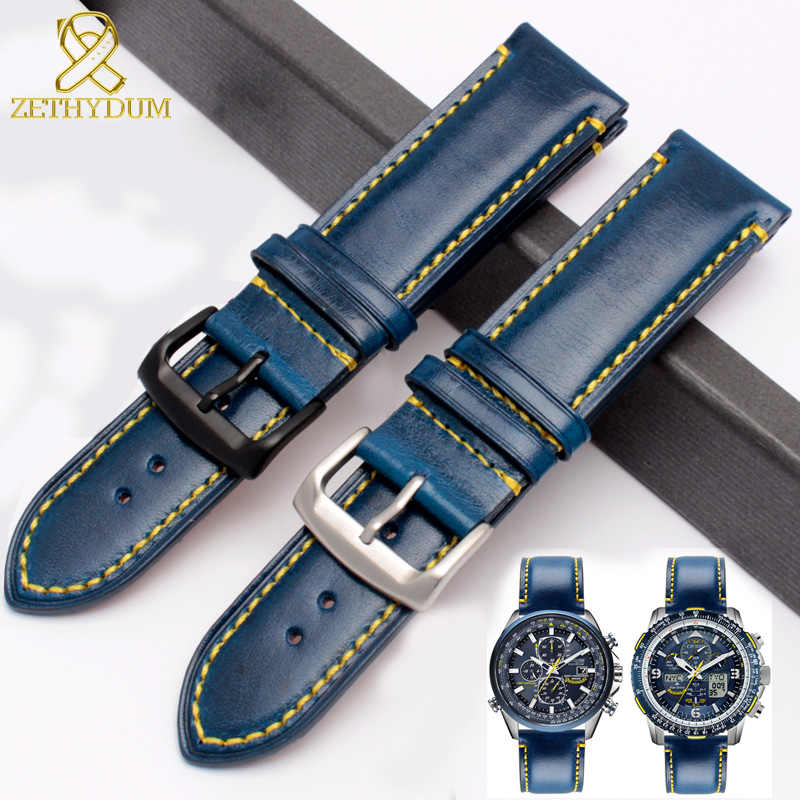 Echt lederen horlogeband 23mm koeienhuid horloge band blauw armband lederen band pin sluiting voor AT8020 JY8078 heren horloges band