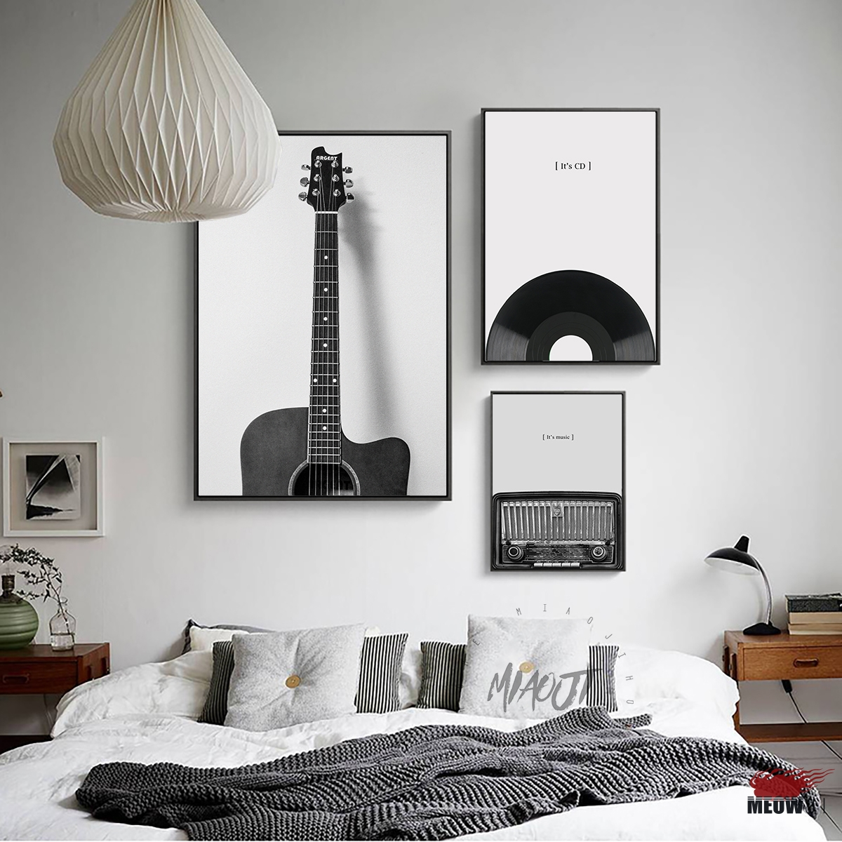 Fashion Music Guitar Poster Living Room Printed Canvas