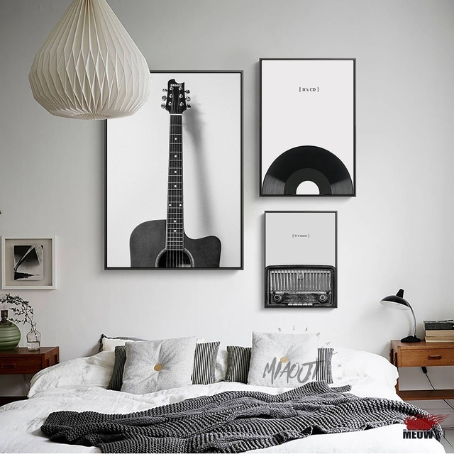 Fashion music guitar poster living room printed canvas painting vintage black and white decoration wall decor