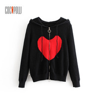 Women Black Hooded Cardigans Sweaters Big Red Heart Pattern Zippers with Metal Ring Long Sleeves 2018 Autumn Lady Causal Wear