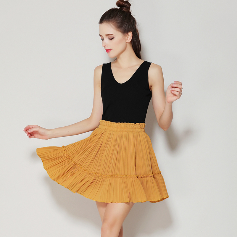 Anasunmoon Skirts Shorts High-Waist Mini Fashion Women's Summer Solid Pleated Casual