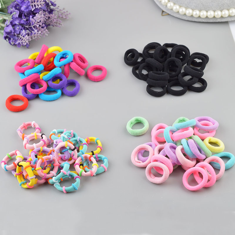 50pcs/lot High Quality Kids Girls Elastic Hair Bands Fashion Seamless Towel Ring Diameter 2.5CM   Headwear   Factory Wholesale