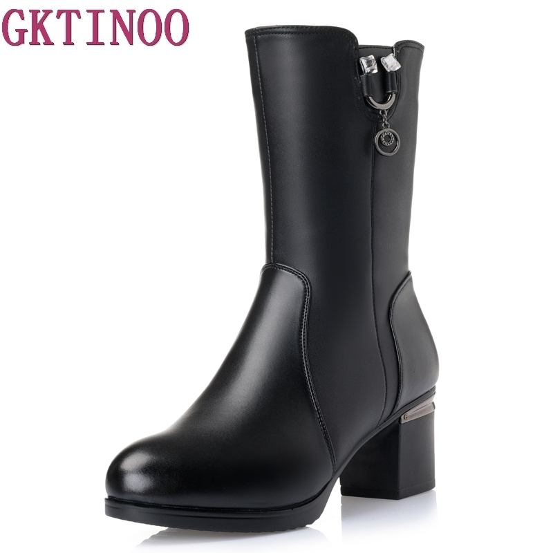 Plus Size 35-43 Women High Heel Mid Calf Boots Genuine Leather Winter Warm Snow Botas Gladiator Boot Footwear Shoes