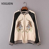 VOGUEIN New Womens Ladies Tiger Premium Embroidered Sukajan Yokosuka Bomber Jacket Coat Size SML Wholesale