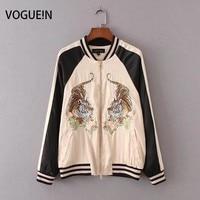 VOGUEIN New Womens Ladies Tiger Premium Embroidered Sukajan Yokosuka Bomber Jacket Coat Size SML Wholesale