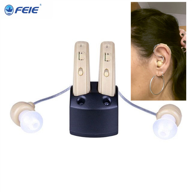 Hearing Aid with Recharger USB Mini Hearing Aid S-109S BTE Enhancement Sound Amplifier Medical Ear Care  Free Shipping analog bte hearing aid deaf sound amplifier s 288 deaf aid with digital processing chip free shipping