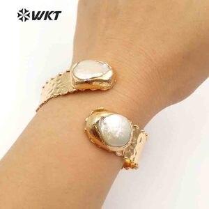 Image 3 - Женский винтажный браслет WKT, регулируемое ювелирное изделие с двойным жемчугом, золотым металлическим гальваническим покрытием, из латуни, устойчивый к сколам