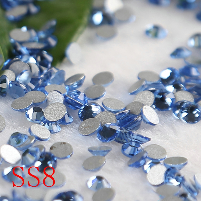 SS8 1440PCS /bag 3d nail jewelry light sapphire Non HotFix Rhinestones DIY Gifts Shoes Bags Accessaries