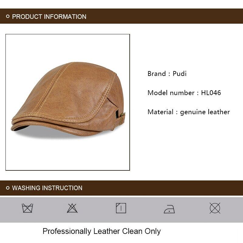 HL046 de cuero genuino de los hombres vendedor de periódicos sombrero Gatsby  de Golf taxista Baker boina Retro marca nueva gorra de béisbol de los  hombres 76bcf75418d