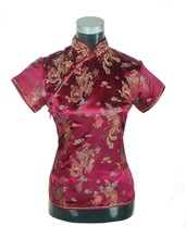 Hot Sale Burgundy Chinese Women's Polyester Blouse Traditional Printed Shirt Tops Vintage Tang Suit Size S M L XL XXL J003-D