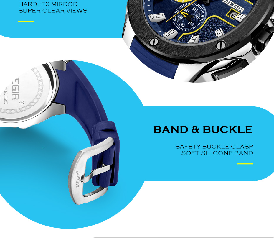 Sport montre chronographe Quartz étanche lumineux