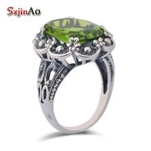 Szjhinao ювелирные изделия из стерлингового серебра Edwardian перидот оливковое резное кольцо ювелирные изделия bague argent 925 femme