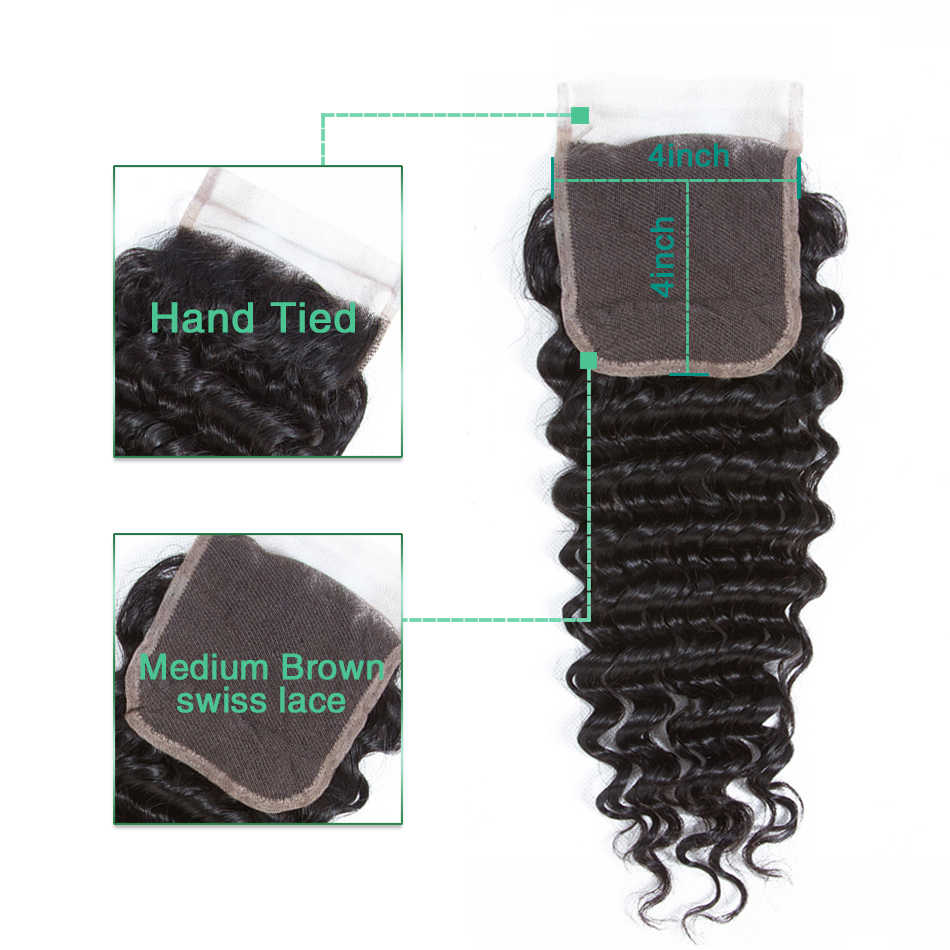 Plecare 4*4 закрытие шнурка Бразильские глубокие волны 8-20 дюймов натуральный цвет средний коэффициент не Реми 100% человеческие волосы для наращивания