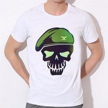 Skull officer skeleton printing men's T-shirt Batman Arkham Asylum City Suicide Squad Harley Quinn Costume T Shirt W27-4#