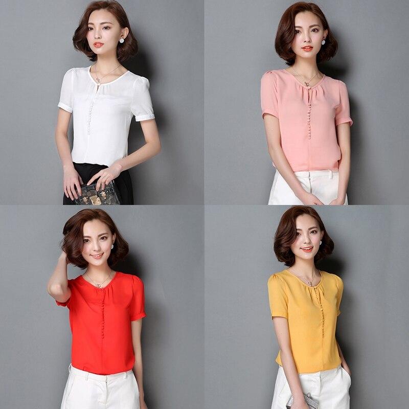 cce8d6a57e Na co dzień kobiety szyfonowa bluzka damska solidna elegancka bluzka z  krótkim rękawem OL koszula biurowa różowy biały żółty topy Plus rozmiar S  3XL w Na co ...