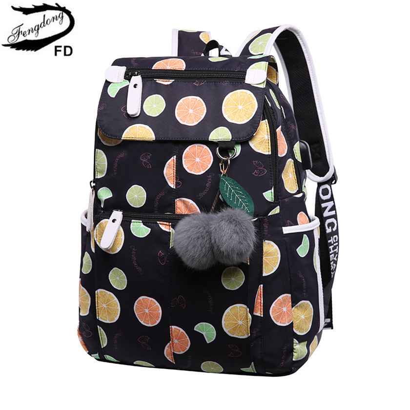 FengDong cute lemon printing school backpack kids computer bag children school bags for girls women laptop backpack 14 schoolbag