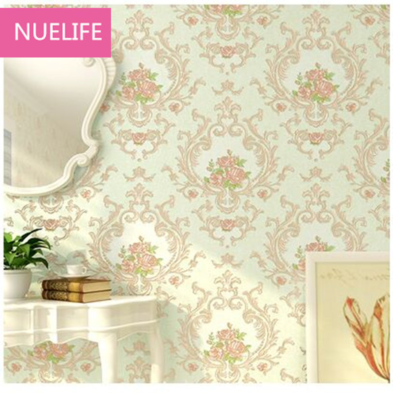 0.53x10m pastoral flower European style non - woven wallpaper bedroom  restaurant television background  bed  wallpaper N2 enhanced version of european style metal bed iron bed double bed pastoral style student bed 1 5 meters 1 8 meters