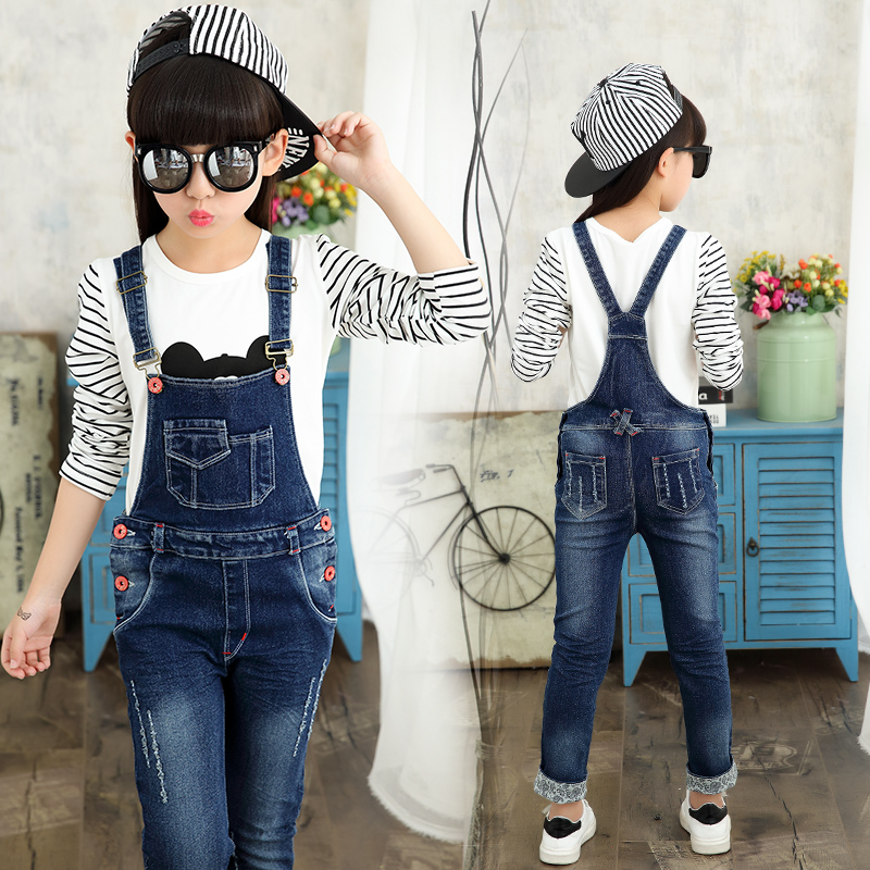 902c8432477 ซื้อ Girls Jeans Pants Autumn Kids Denim Overalls for Girls Jumpsuit  Children Trousers Girls Suspenders Pants 4 8 9 12 Years Overalls ออนไลน์  ส่งฟรี ...