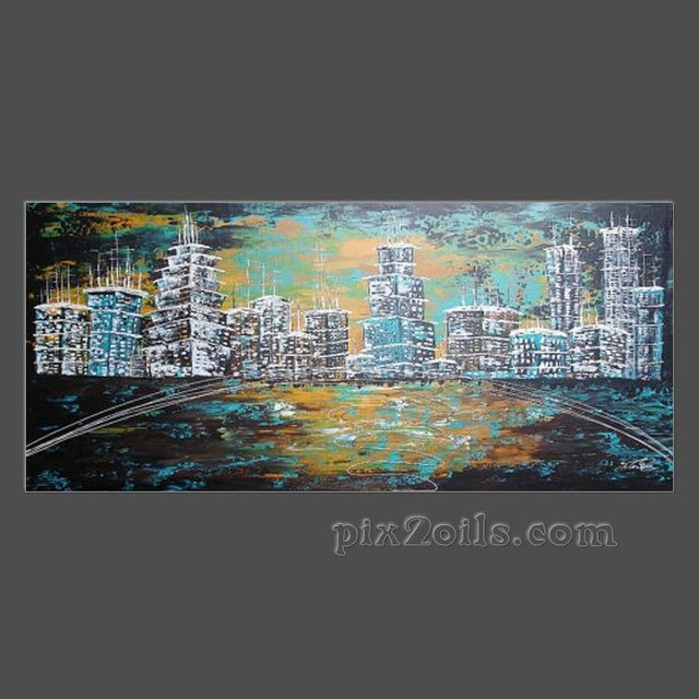 Acrylic painting abstract large canvas city skyline town art deco turquoise black white wall art free