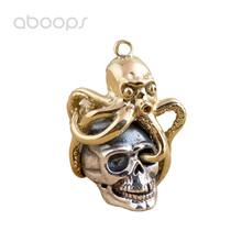 Gothic Two Tone 925 Sterling Silver Skull Octopus Necklace Pendant for Men Boys Free Shipping