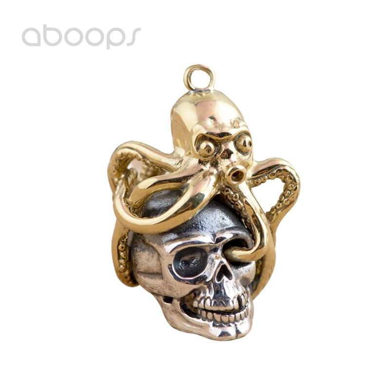 Gothique deux tons 925 en argent Sterling crâne poulpe collier pendentif pour hommes garçons livraison gratuite